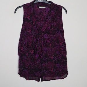 Anthropologie Hinge Purple Tie Front Button Blouse